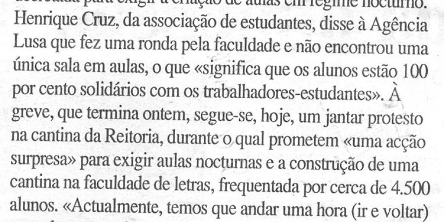 """(95) """"Alunos da Faculdade de Letras do Porto em greve"""" - 2000 03 02 DCoimbra 17-200r"""