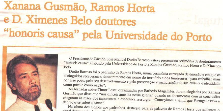 """(48) """"Xanana Gusmão, Ramos Horta e D. XImenes Belo doutores 'honoris causa' pela Universidade do Porto"""" - 2000 11 06 PovoLivre 08-280r"""