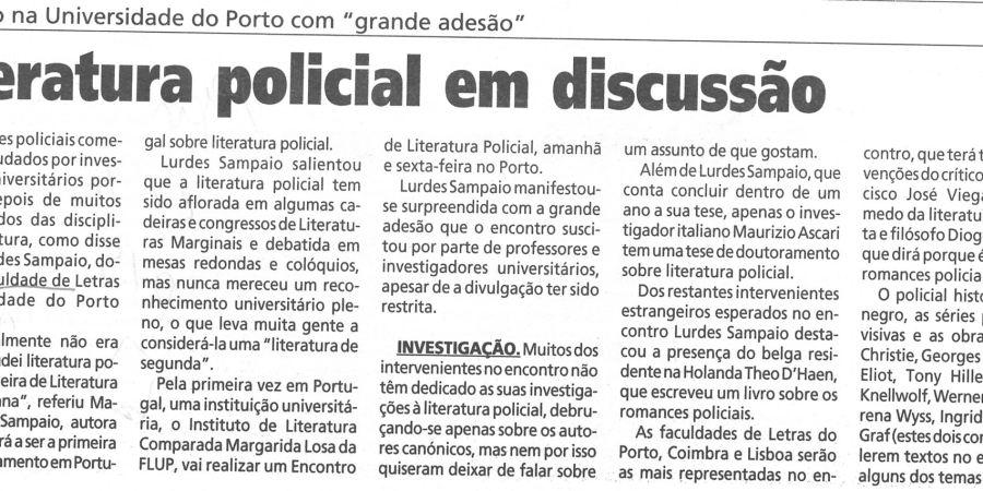 """(30) """"Literatura policial em discussão"""" - 2000 11 22 1ºJaneiro 15-200r"""
