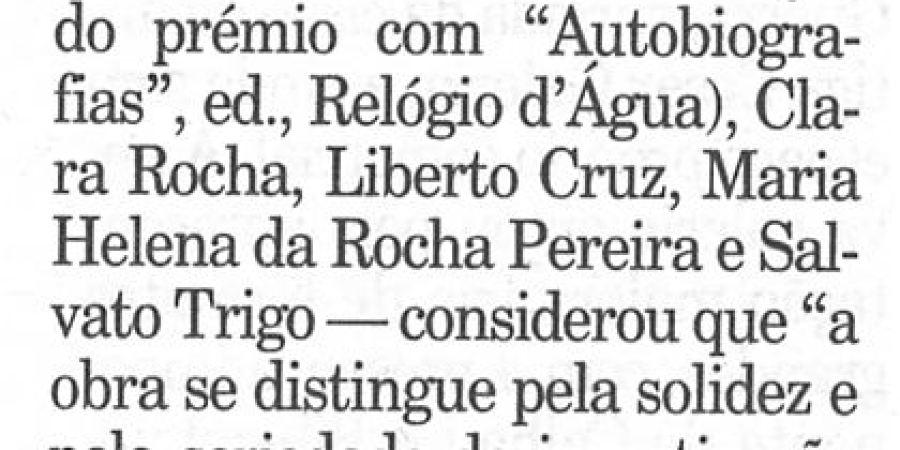 """(25) """"Prémio Ensaio da APE 1999"""" - 2000 12 01 Publico 30-80r"""