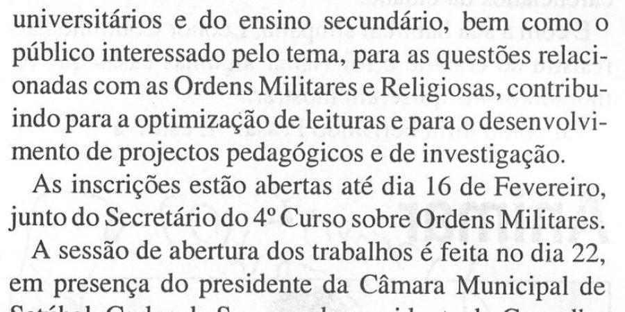 """(9) """"4º Curso sobre Ordens Militares"""" - 2001 02 14 ComercioSetubal 12-130r"""