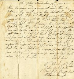 official letter from hampton connecticut from 1801 discussing the construction of a new road [ 2309 x 2387 Pixel ]
