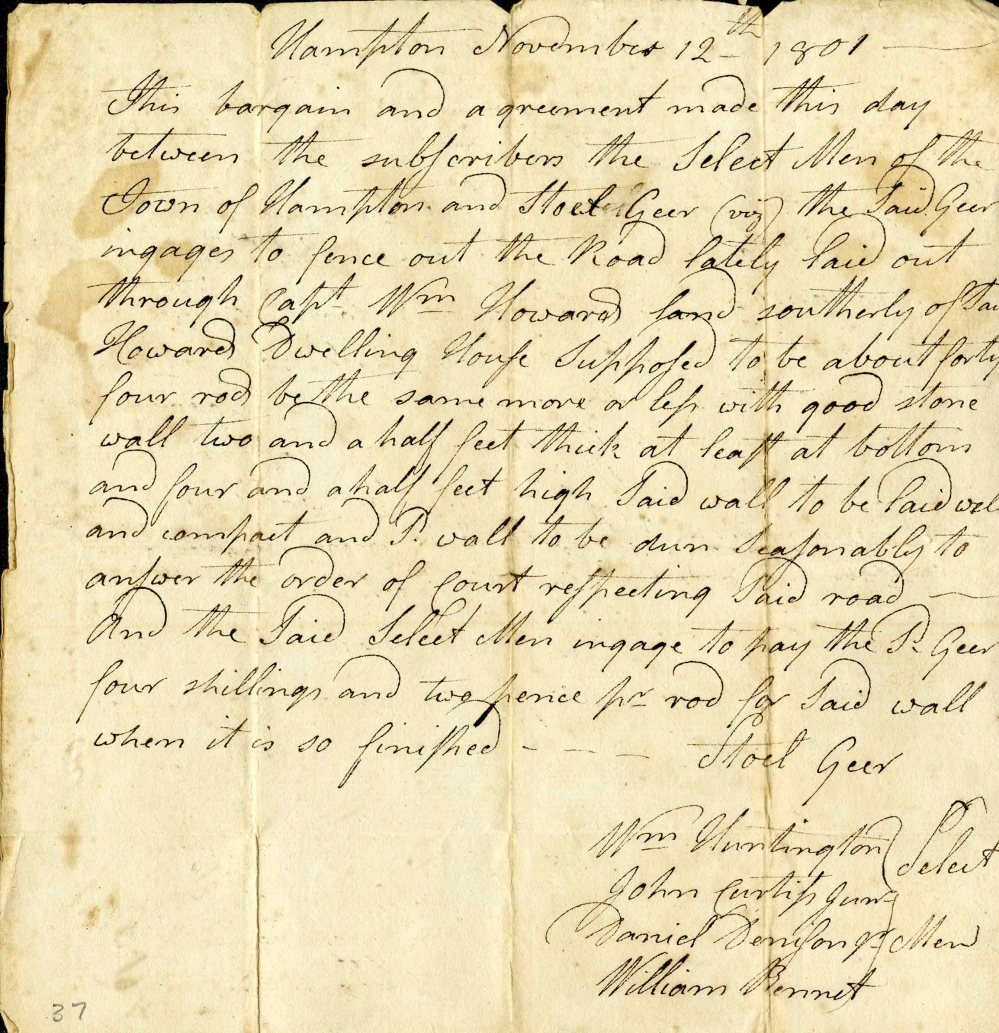 medium resolution of official letter from hampton connecticut from 1801 discussing the construction of a new road