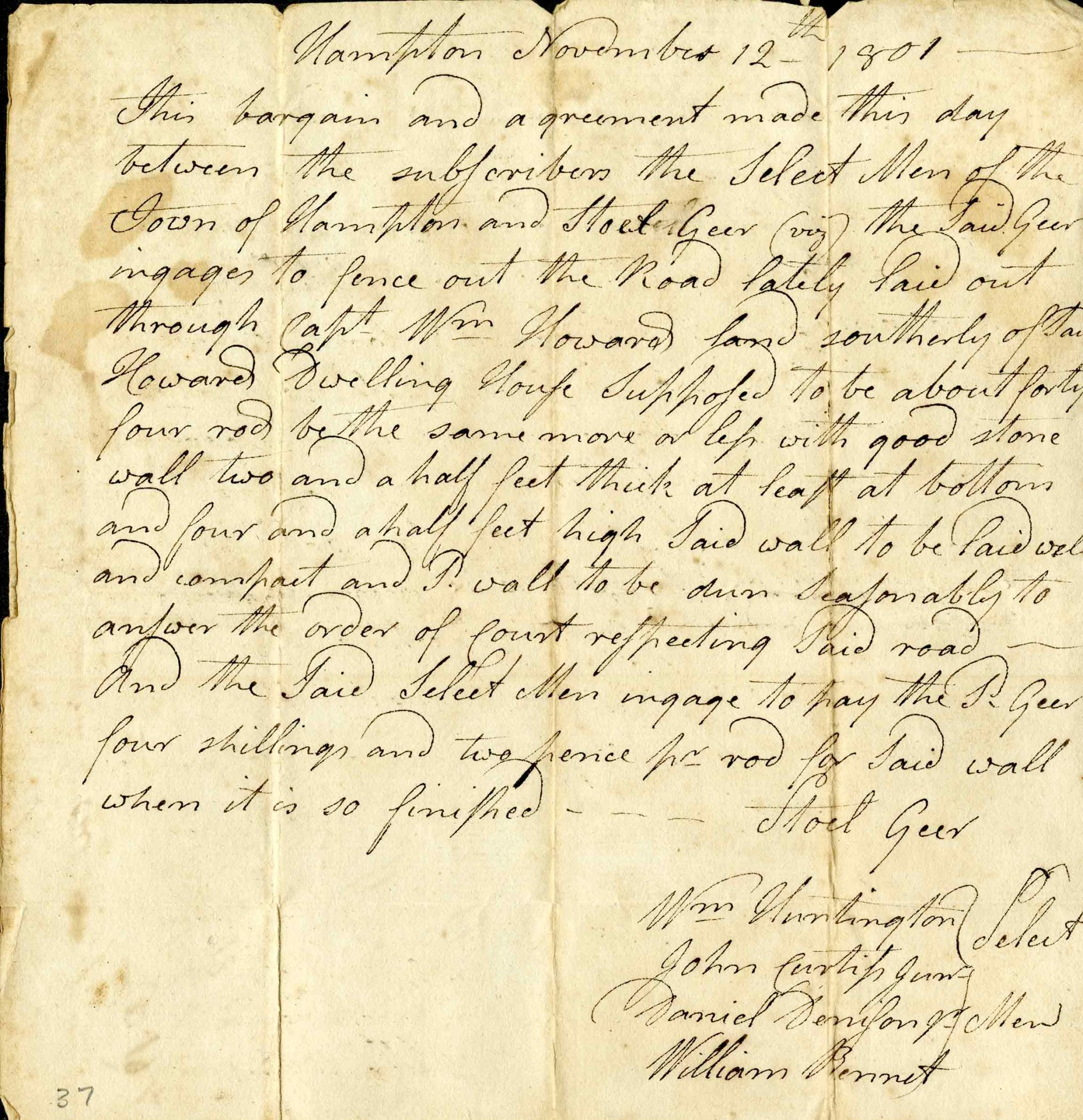 hight resolution of official letter from hampton connecticut from 1801 discussing the construction of a new road