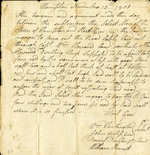 small resolution of official letter from hampton connecticut from 1801 discussing the construction of a new road