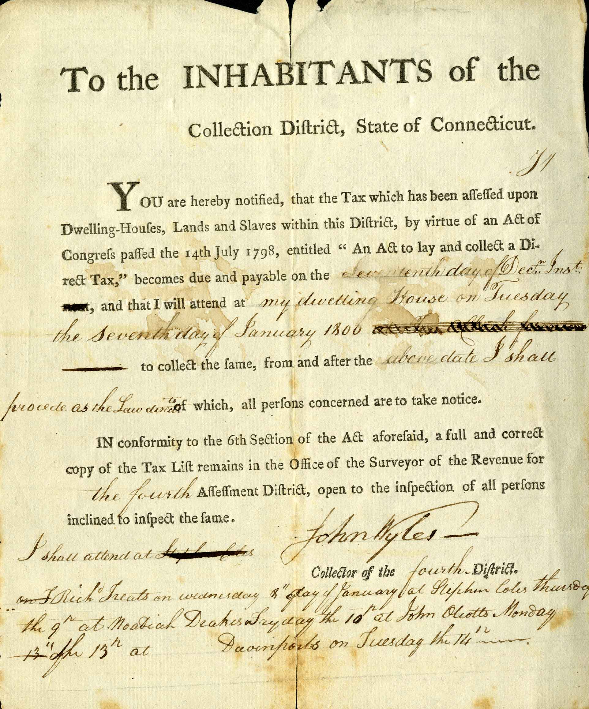 hight resolution of connecticut tax notice from 1800 concerning houses land and slaves from the gaines