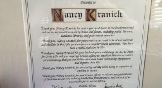 Nancy Kranich Freedom to Read Award
