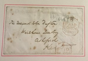 image showing the address and postage for this letter