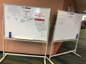White boards in Alexander Library provided a forum for student voices during Open Access Week.