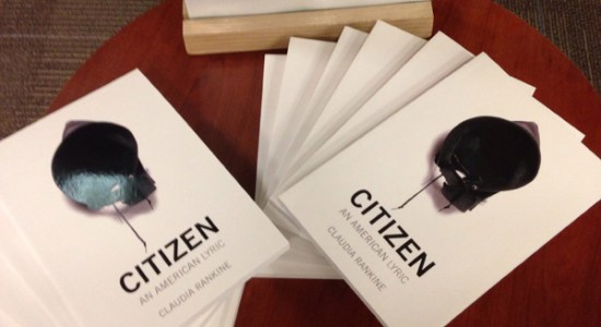 The new Big Read exhibit at Robeson Library included a giveaway of Claudia Rankine's Citizen: An American Lyric. Credit: John Powell.