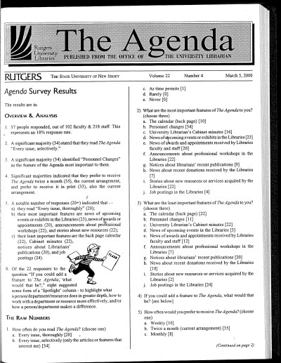 The Agenda 22, no. 4 (March 5, 2000)