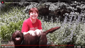 Regina and her dog from the CCAS and UCC Virtual Celebration