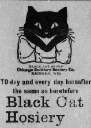 Advertisement showing drawing of smiling black cat (head only) with white bow around neck