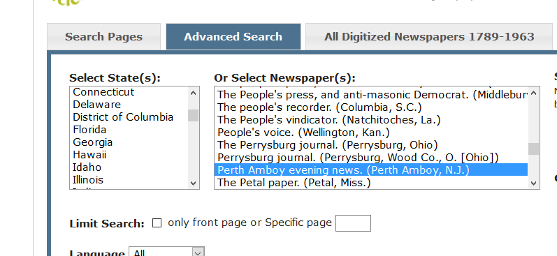 Search screen showing Chronicling America Advanced Search Tab and dropdown menu for newspapers.