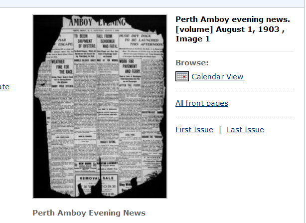 Perth Amboy Evening News landing page with Calendar View link.
