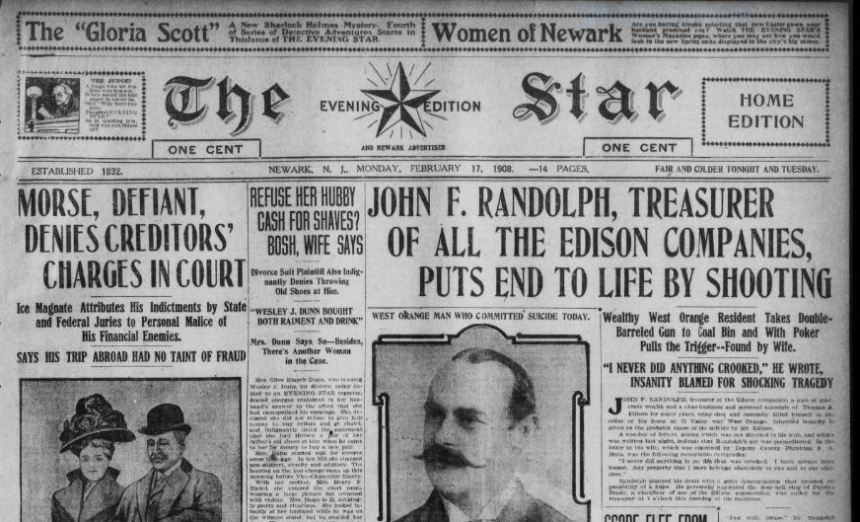 Partial image of front page of The Star and Newark Advertiser, February 17, 1908
