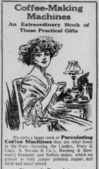 """Image of a women with the heading """"Coffee-Making Machines: An Extraordinary Stock of These Practical Gifts."""""""