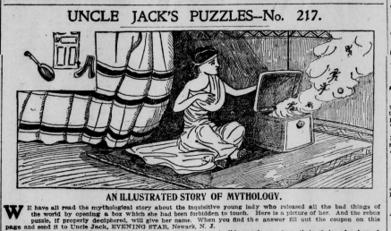 """""""Uncle Jack's Puzzles-No. 217"""" depicts a woman who is sitting next to a box with smoke coming out of it. There are three small images portrayed in the upper left corner."""