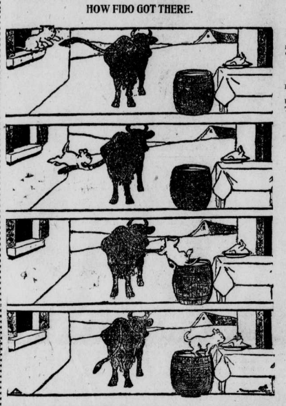 """""""How Fido Got There"""" shows a dog swinging by the cows tail to get to the table with the plate of turkey."""