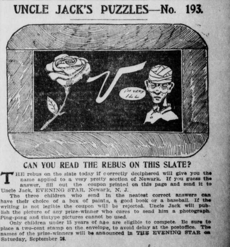"""""""Uncle Jack's Puzzles-No. 193"""" portrays images in the rebus used to solve the puzzle."""