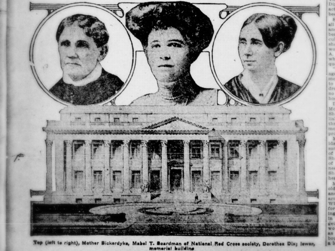 From left to right, portraits of Mary Ann Bickerdyke, Mabel Thorpe Boardman, and Dorthea Dix above the American Red Cross National Headquarters building. Taken from the April 21, 1914 issue of the Perth Amboy evening news.