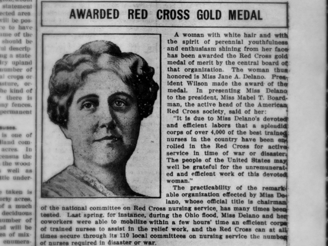 Story about an award being presented to American Red Cross Chief Executive Jane Delano. Taken from the May 21, 1914 issue of the Bridgeton pioneer.