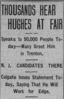 Hughes speaks at Fair in Trenton.