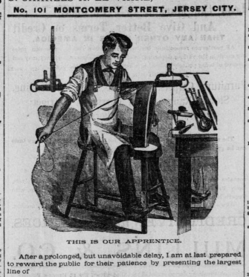 Ad showing a saddlery shop apprentice working