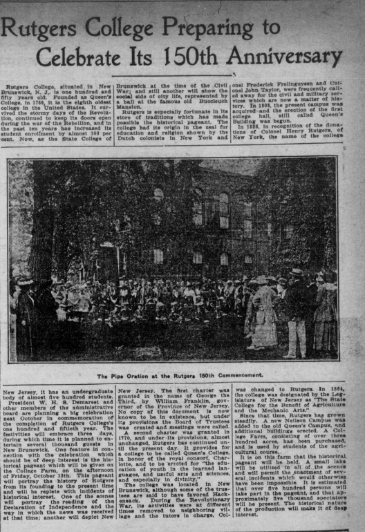 """""""Rutgers College Preparing to Celebrate Its 150th Anniversary"""" depicts article with image of the 150th commencement."""