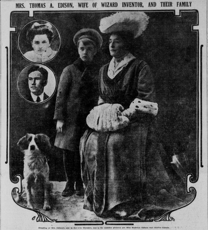 Image showing Mrs. Edison standing by her son, Theodore and smaller images of Charles and Madelyn (Madeleine).