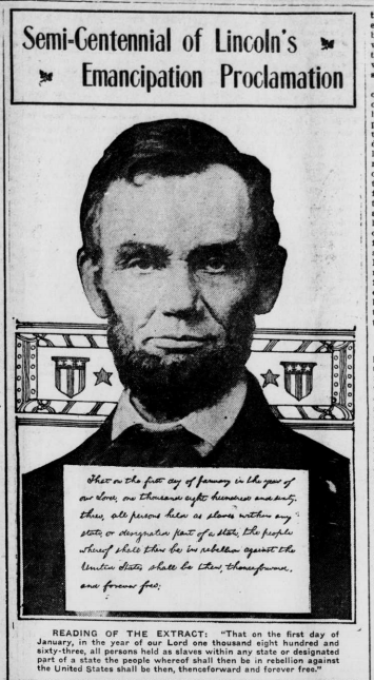 This illustration of Abraham Lincoln is from the January 2, 1913 issue of the Bridgeton Pioneer.