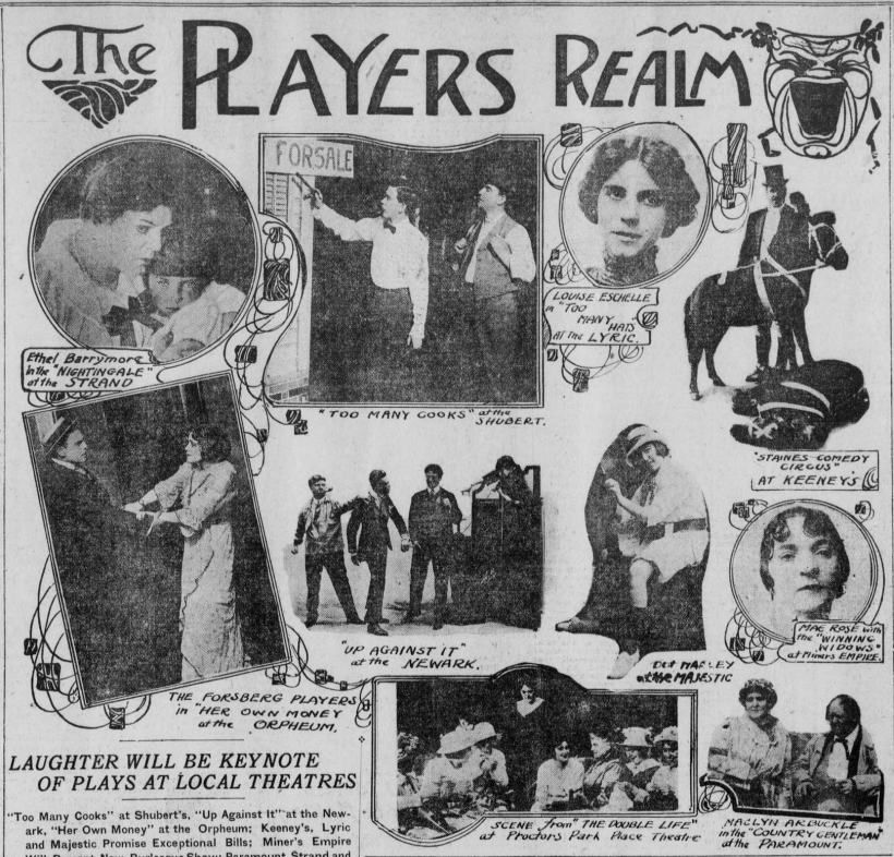 Images of plays in local theaters with Ethel Barrymore seen in the upper left.