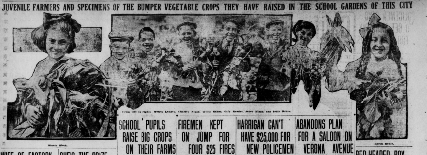 """Images of children with vegetables with the heading """"Juvenile Farmers and Specimens of the Bumper Vegetable Crops they have Raised in the School Gardens of this City."""""""