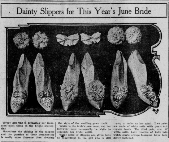 """Image of slippers with the heading """"Dainty Slippers for this Year's June Bride."""""""