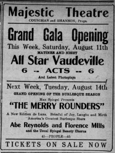 """Advertisement for the show """"The Merry Rounders"""" that features Florence Mills at Majestic Theatre."""