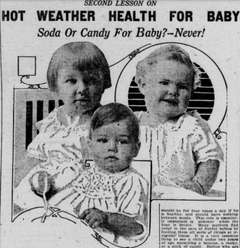 """Image with second title """"Second Lesson on Hot Weather Health for Baby-Soda or Candy for Baby?-Never!"""""""