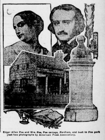Article with image of Poe Cottage in Fordham, NY.