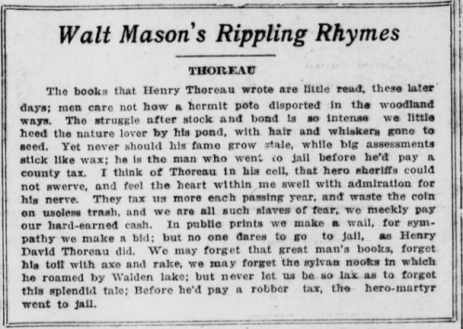 """Titled """"Walt Mason's Rippling Rhymes."""" mentions Thoreau's memory as a nature lover and hero-martyr."""