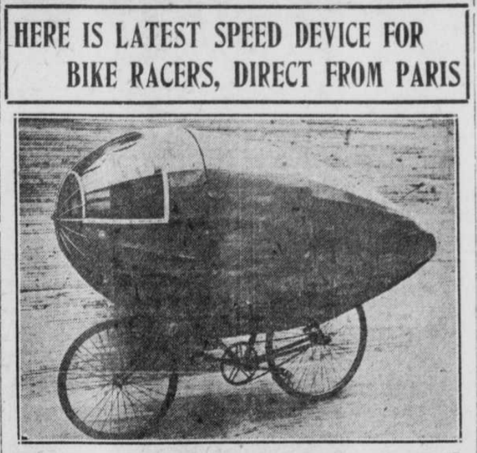"""Image with title """"Here is the Latest Speed Device For Biker Racers, Direct from Paris."""""""