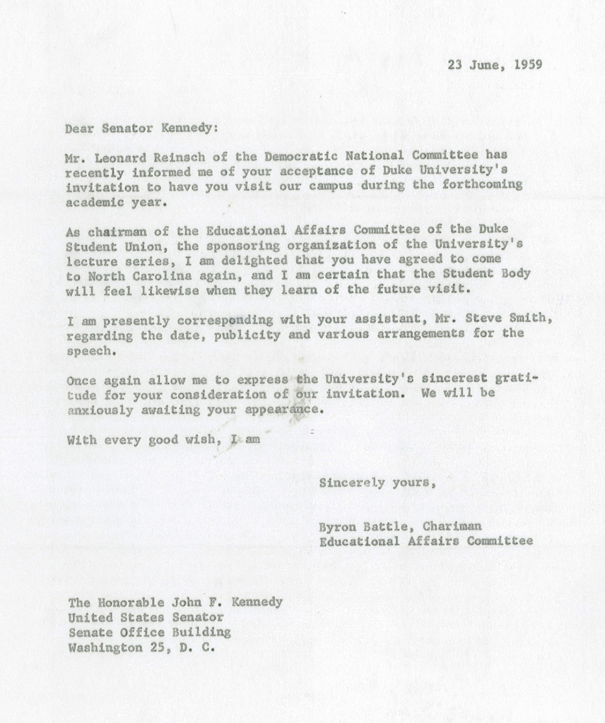 Letter, Byron Battle To John F. Kennedy, June 23, 1959. From