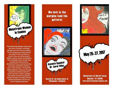 """Hand-drawn flier for the """"Monstrous Women in Comics Conference"""", May 26-27, 2017"""