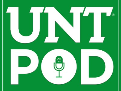 "Logo of UNT Pod site, features white letters on green background, with the ""O"" in Pod containing an old-fashioned radio microphone"