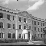 UNTA_U0458-100-865-03 Terrill Hall as it looked in 1942. The building is three stories tall. It is no longer used as a dorm. It now houses offices and classroom space for the Psychology Department.