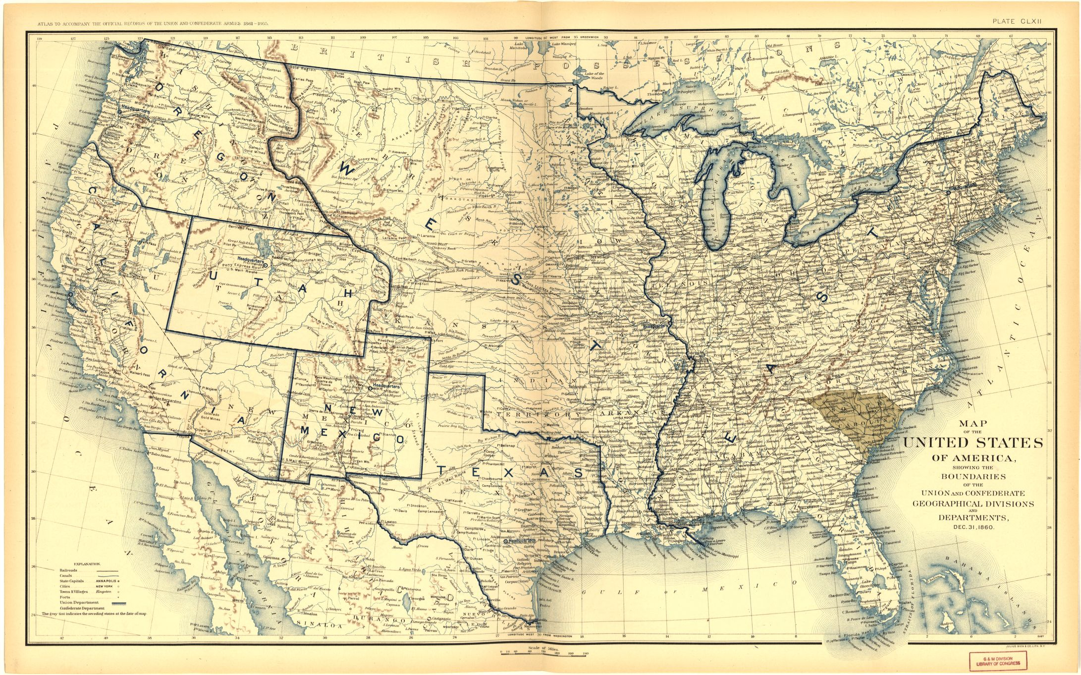 Places In American Civil War History Maps Depicting Prologue To War And Secession March