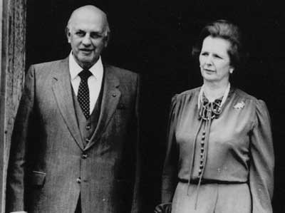Margaret Thatcher invited the former South Africa apartheid leader PW Botha to visit Britain