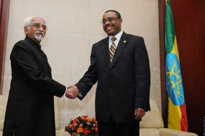 India Vice President Hamid Ansari meets Ethiopia's Vice President Hailemariam Desalegn on a recent trip to the East African country