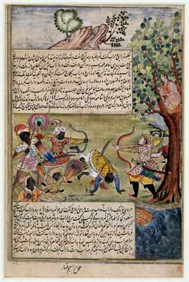 This miniature painting in India comes from thePersian story of Darab fighting the Zanjis (Africans). Mughal, India c.1580-85