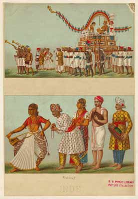 Porters at a Wedding Procession In the 18th century, Africans from the East Coast and Madagascar were transported to the Makran coast in Pakistan, and to Gujarat (India). Some were then sent to serve Indian and European elites in the north and east as far away as Bengal. Courtesy of the New York Public Library