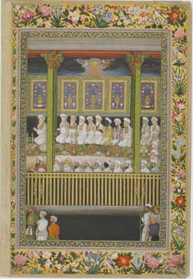African Muslim Theologians Shah Jahan, ruler of the Mughal Empire between 1628 and 1658—and builder of the famous Taj-Mahal—honors Muslim learned men, including two Africans. Courtesy of the Smithsonian Institution