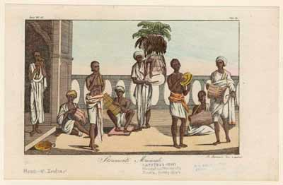 Indian Musicians, Early 1800s Adult men were the most in demand in India. They were barbers, musicians, field laborers, water carriers, guards, soldiers and sailors. By the 1820s preference shifted toward boys—who were more easily controlled than adults—and women for domestic work and as concubines and prostitutes. The slave trade to India was organized at different times by the Arabs, the Portuguese, the British and the Indians. Courtesy of the New York Public Library